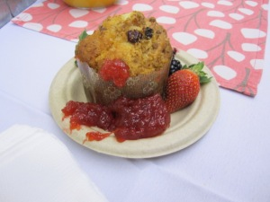 Fresh-baked Organic Muffin with CROFTER'S® ORGANIC Strawberry Fruit Spread